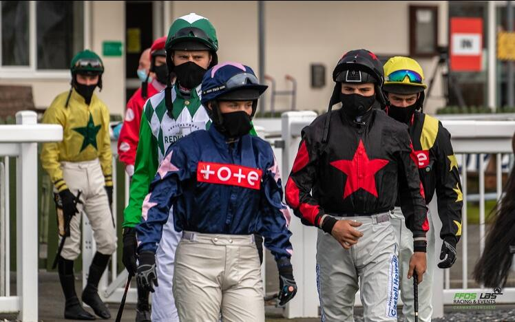 Jockeys in masks at Ffos Las Racecourse